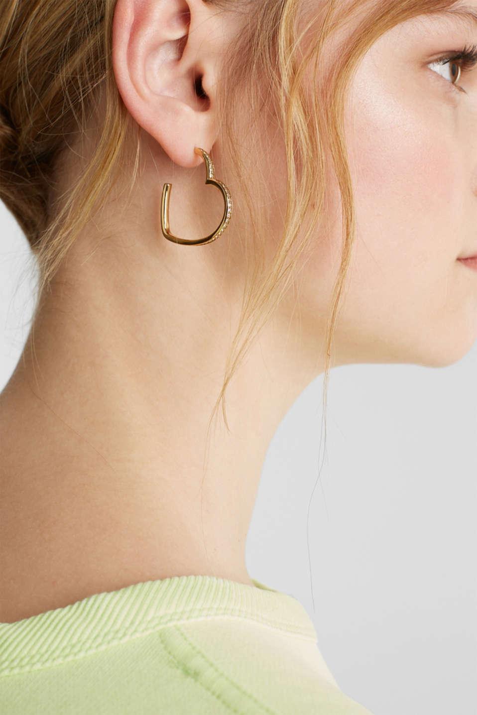 Stainless steel heart hoop earrings, LCGOLD, detail image number 2