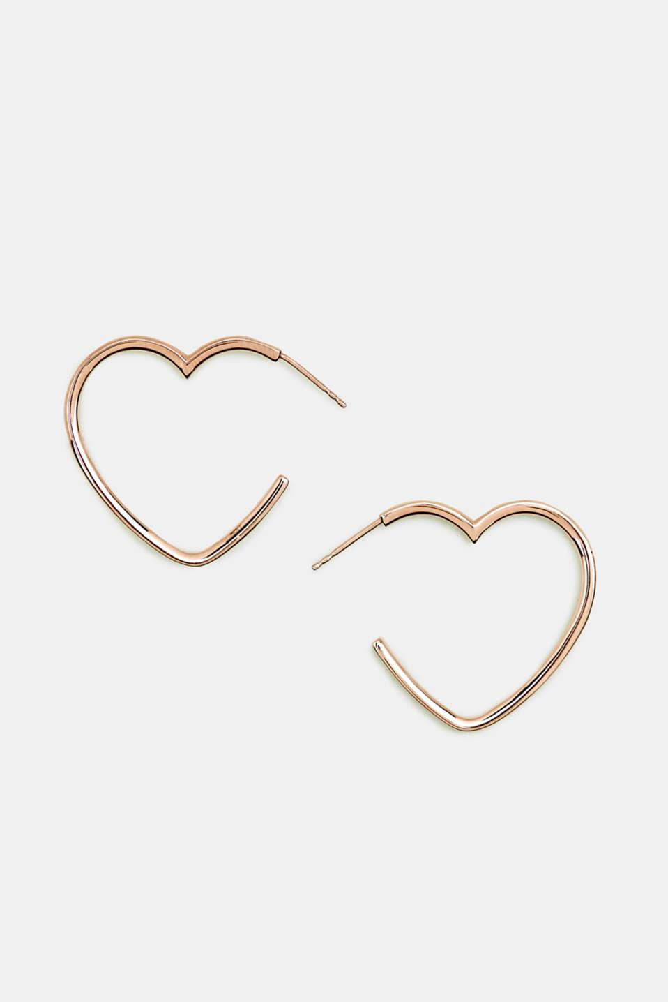 Heart-shaped hoop earrings in stainless steel, LCROSEGOLD, detail image number 0