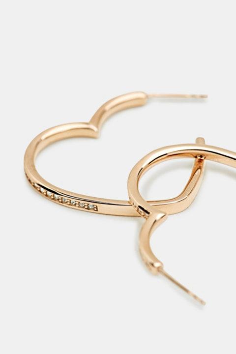 Heart-shaped hoop earrings in stainless steel