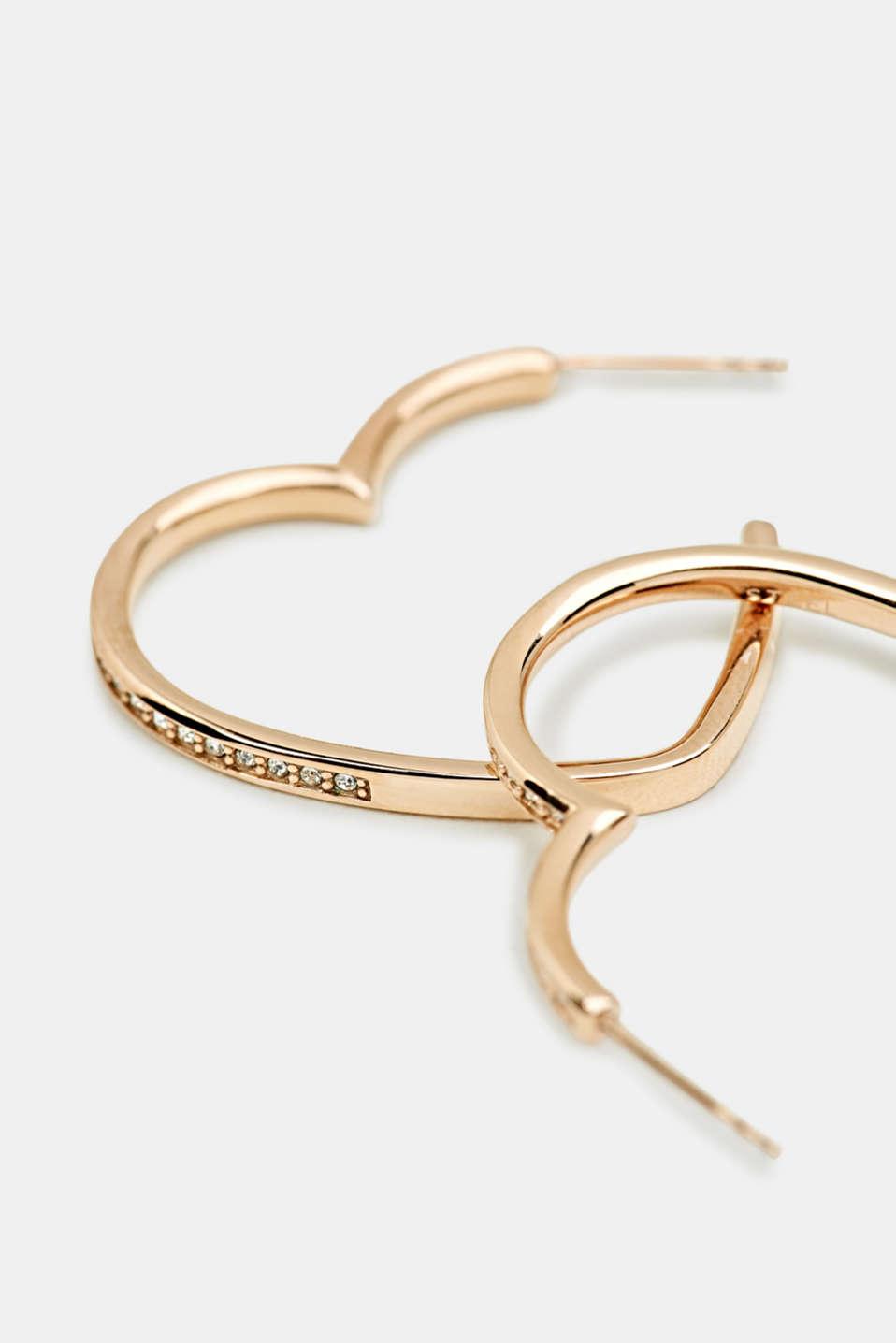Heart-shaped hoop earrings in stainless steel, LCROSEGOLD, detail image number 1