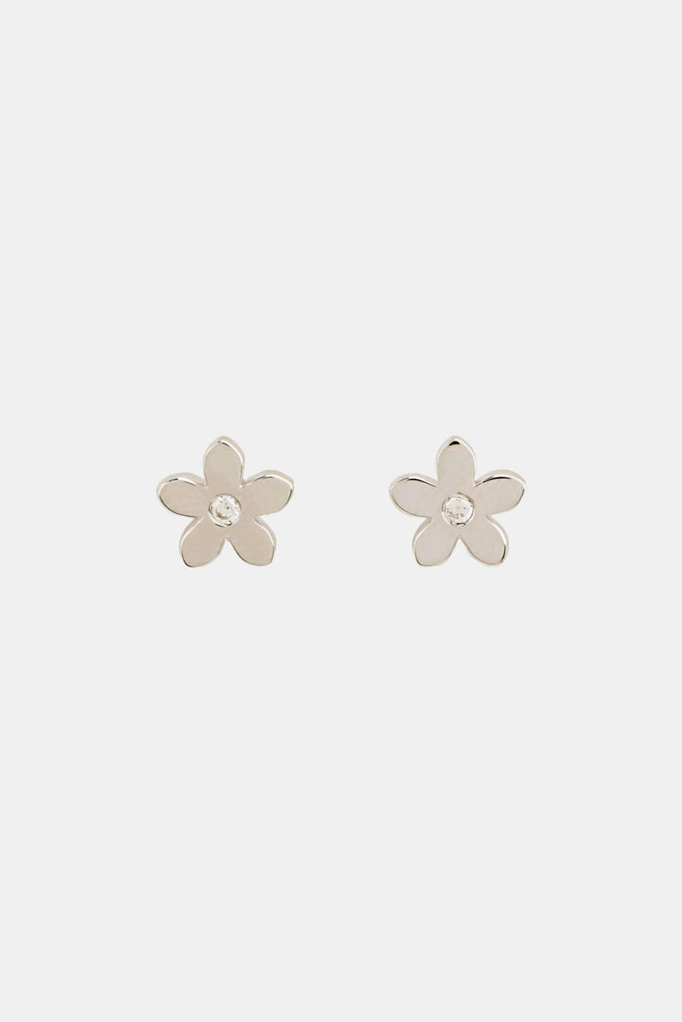 Stud earrings with zirconia, sterling silver, LCSILVER, detail image number 0