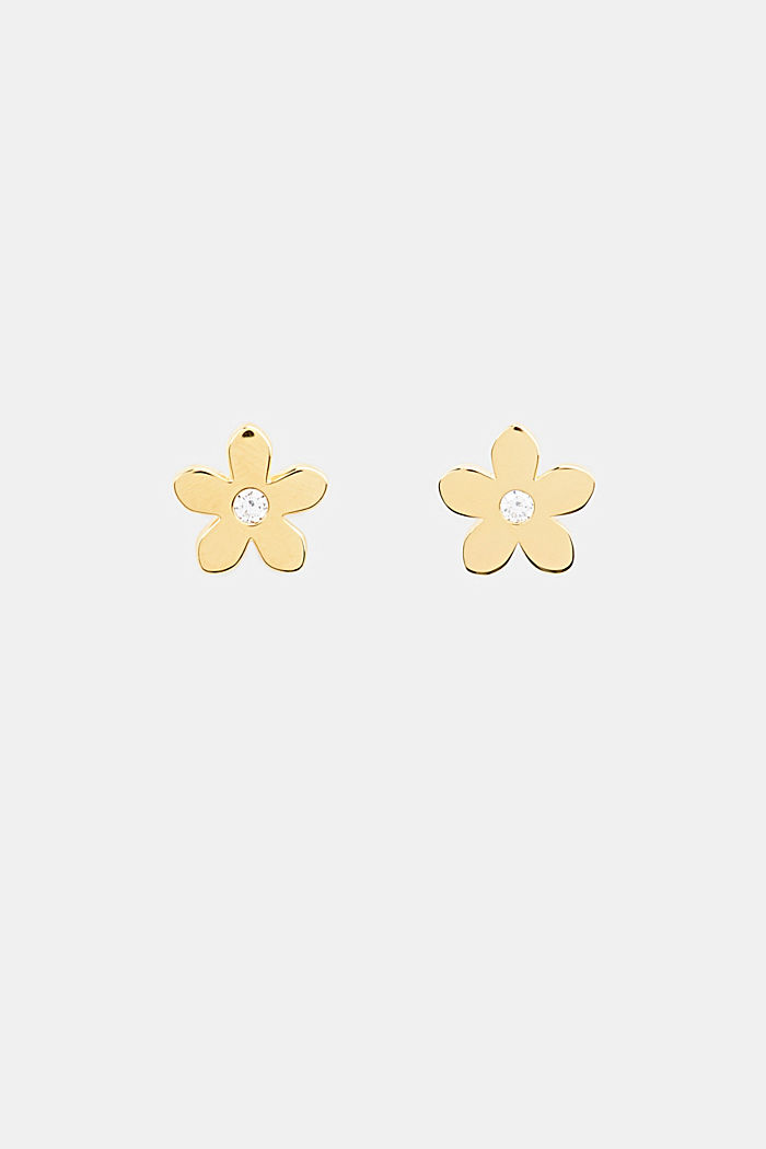 Stud earrings with zirconia, sterling silver, GOLD, detail image number 0