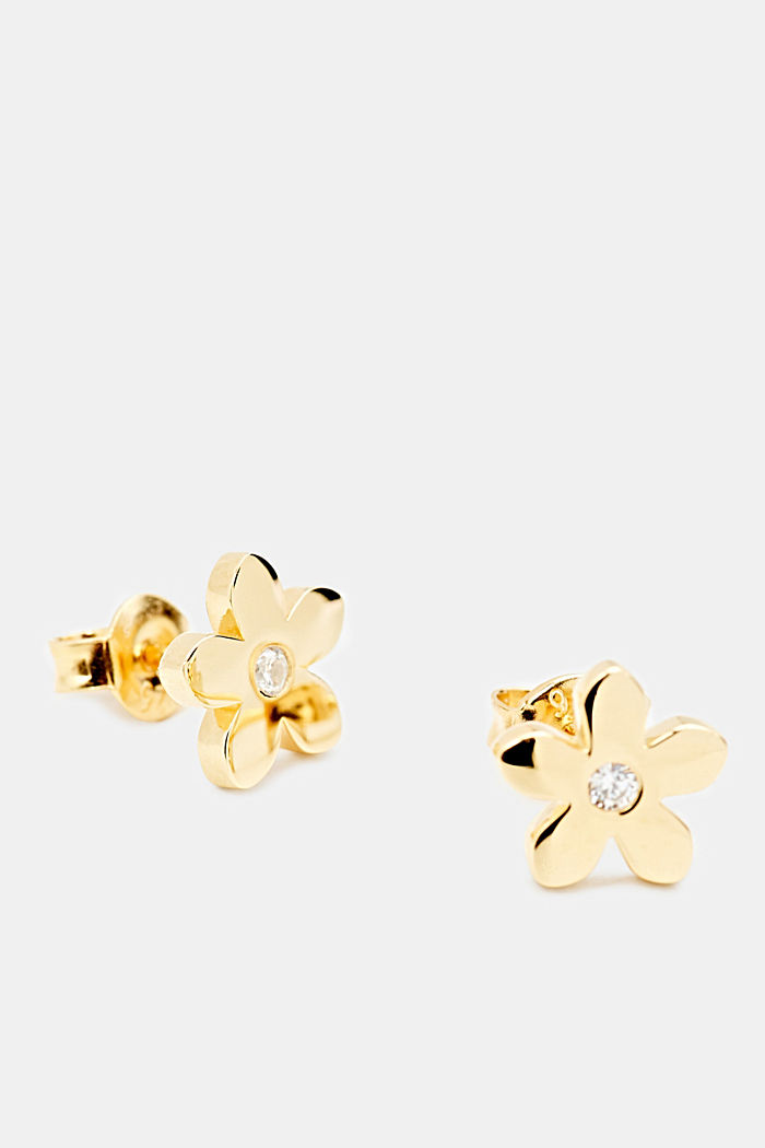 Stud earrings with zirconia, sterling silver, GOLD, detail image number 1