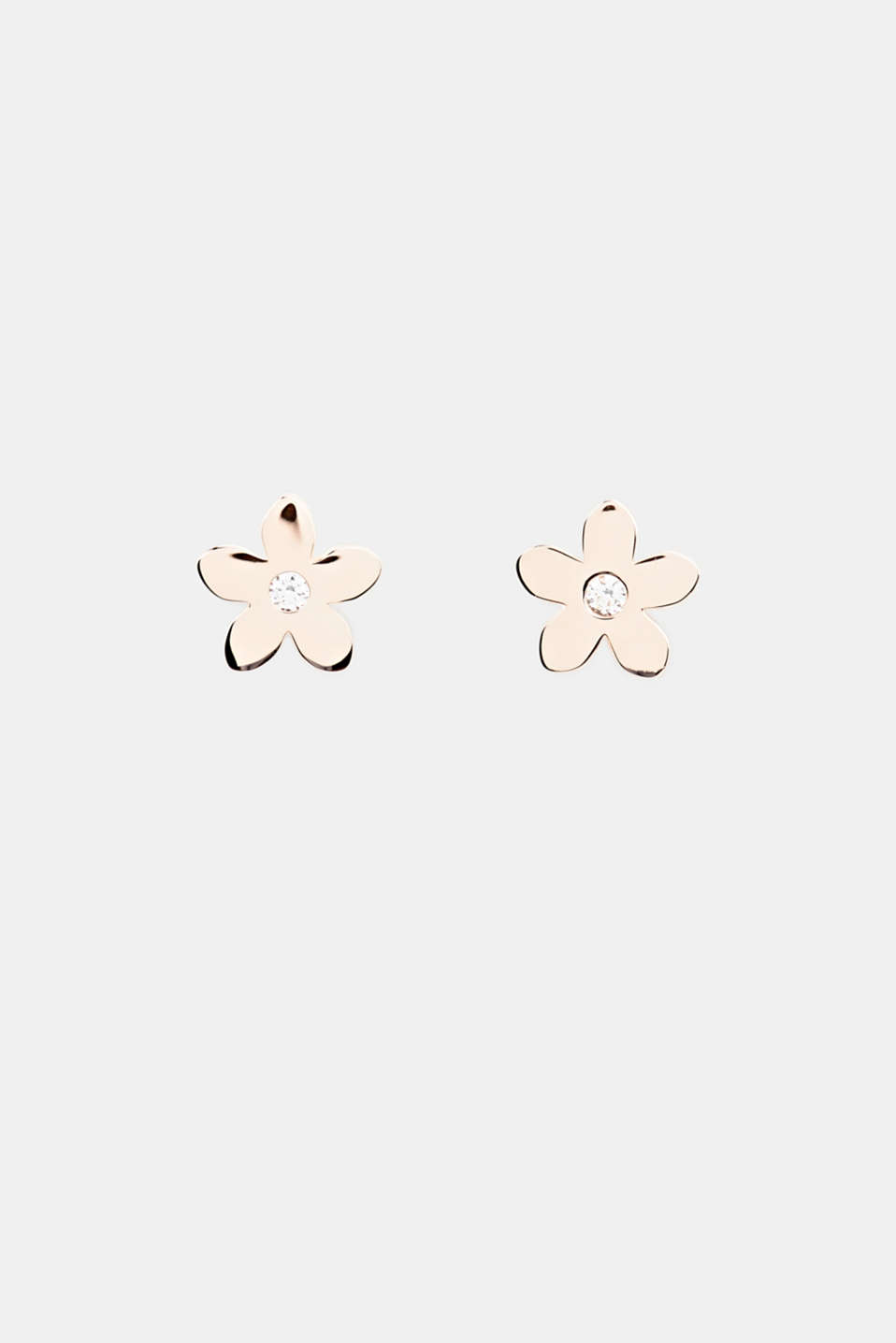 Stud earrings with zirconia. Sterling silver, LCROSEGOLD, detail image number 0