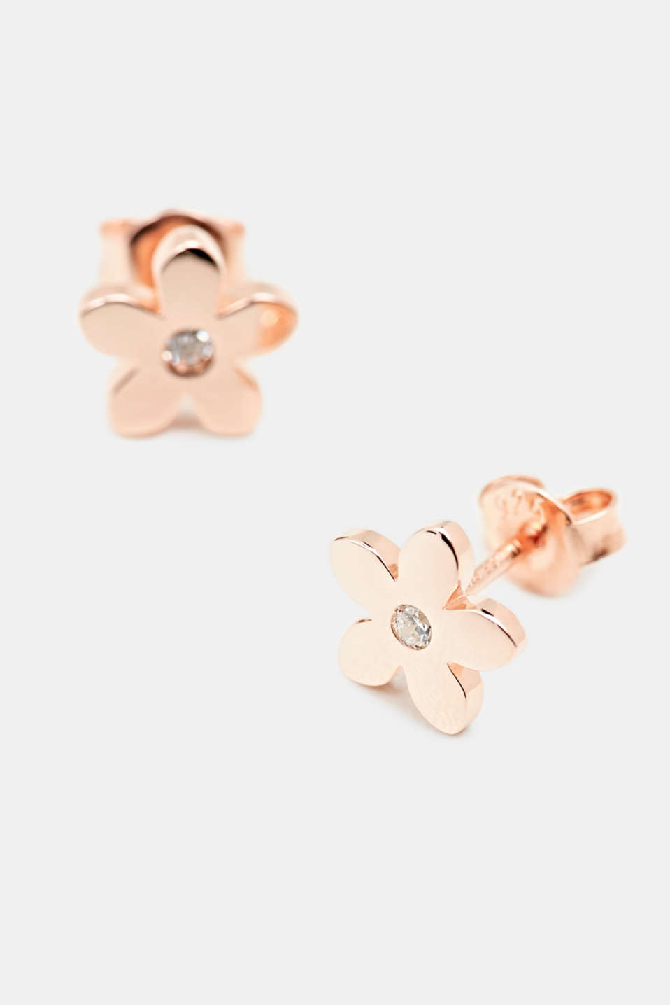 Stud earrings with zirconia. Sterling silver, LCROSEGOLD, detail image number 1