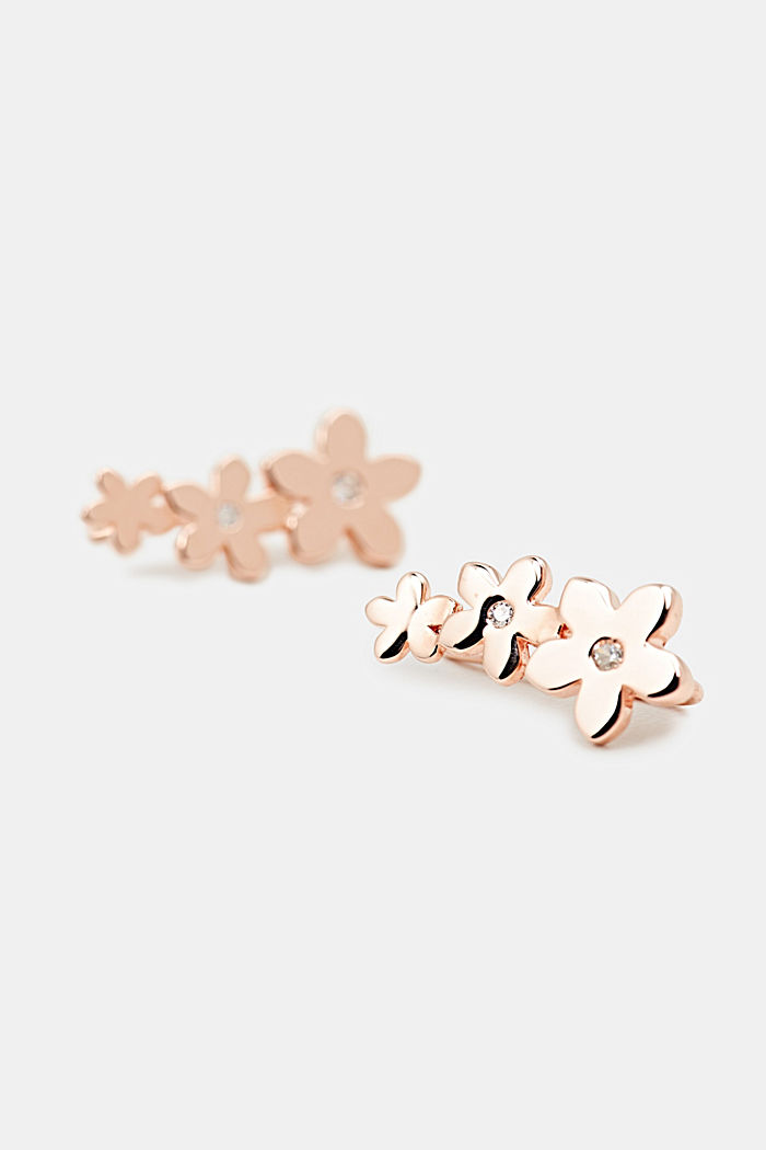 Ear climbers with zirconia, sterling silver, ROSEGOLD, overview