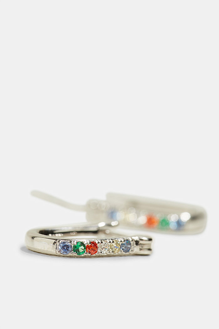 Sterling silver earrings trimmed with colourful zirconia, SILVER, detail image number 1