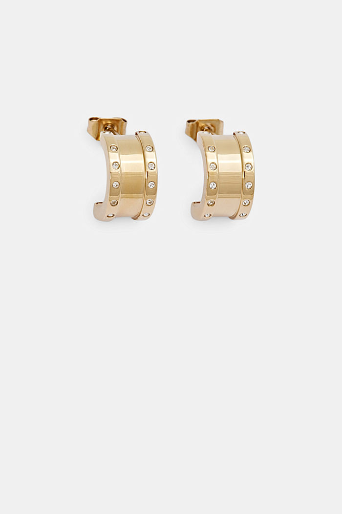 Gold-plated stainless steel earrings with zirconia, GOLD, detail image number 0
