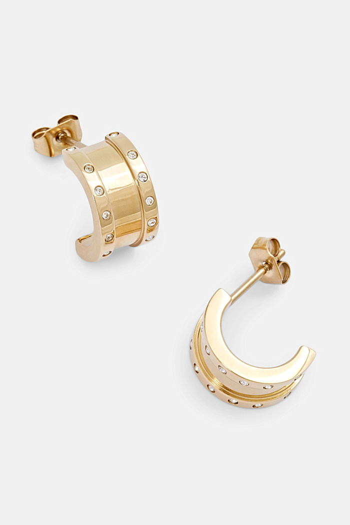 Gold-plated stainless steel earrings with zirconia, GOLD, detail image number 1