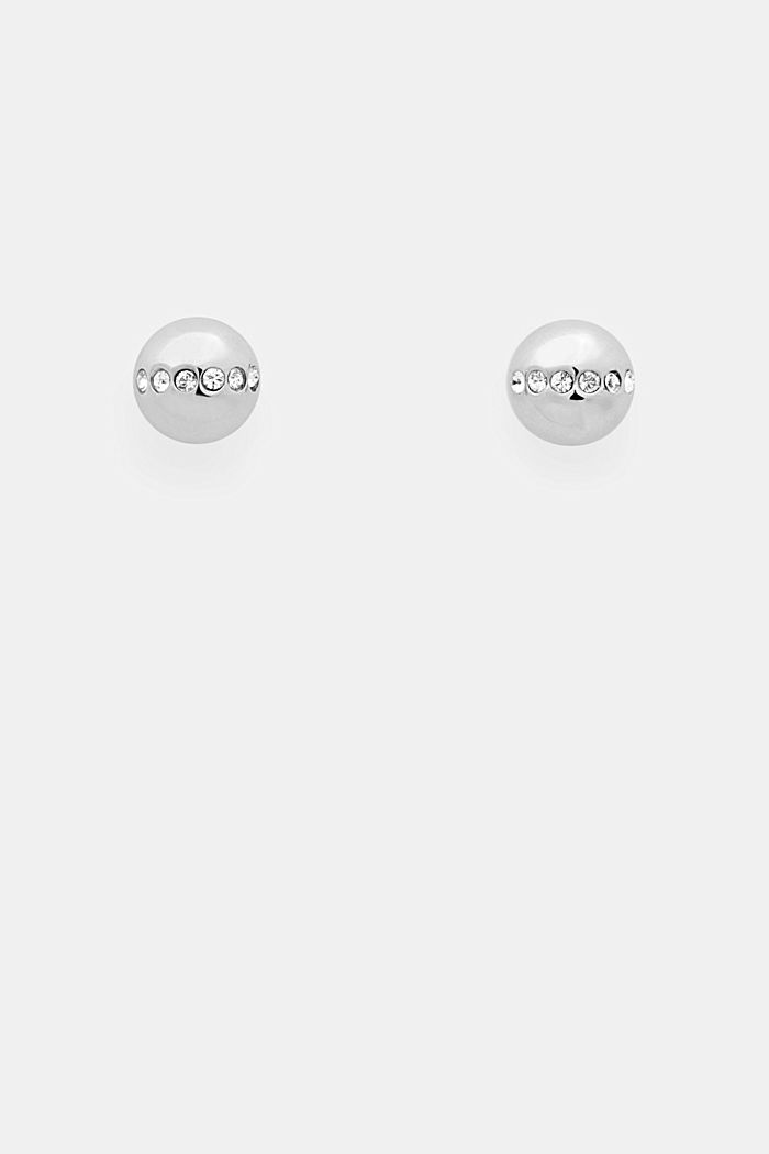 Stainless-steel and zirconia stud earrings, SILVER, detail image number 0