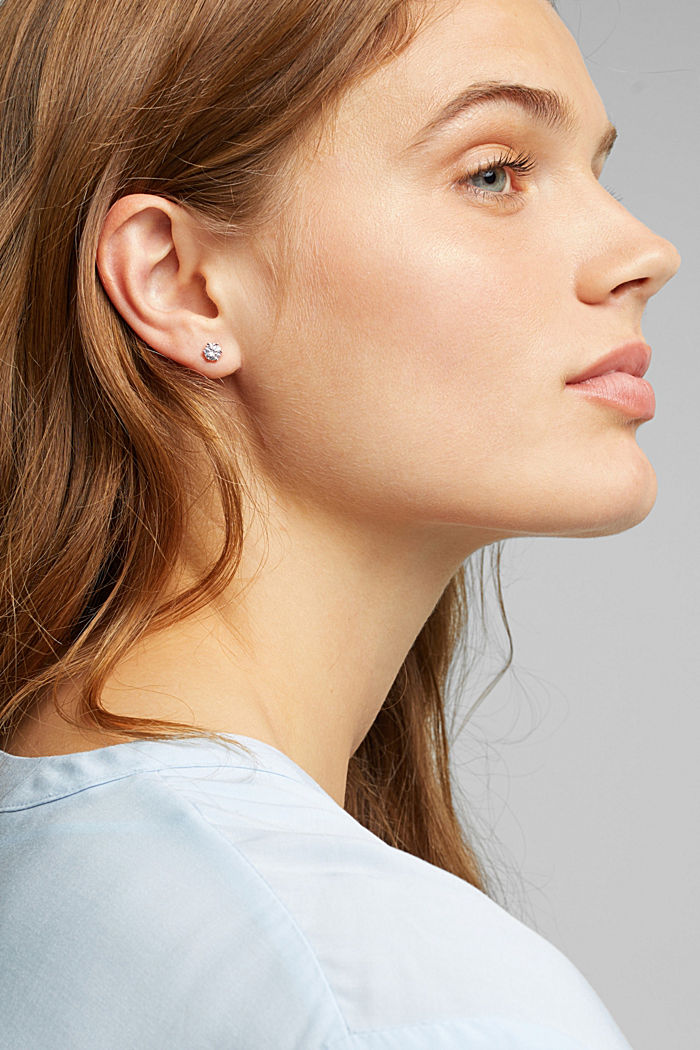 Stud earrings with zirconia, sterling silver, SILVER, detail image number 2