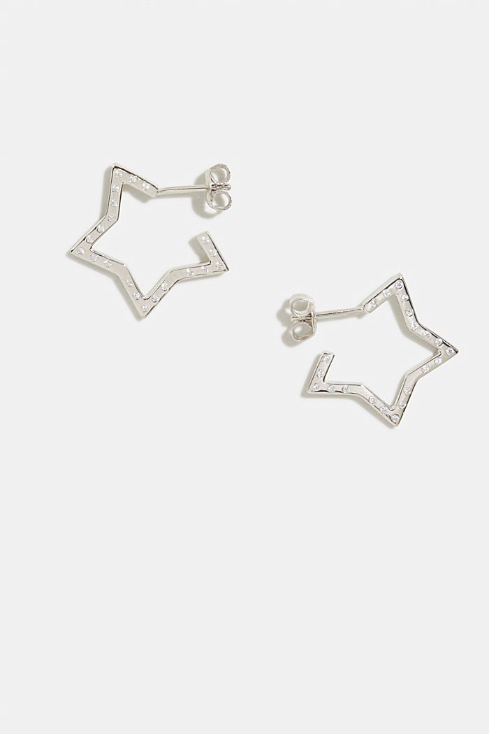 Star-shaped stud earrings, sterling silver/zirconia