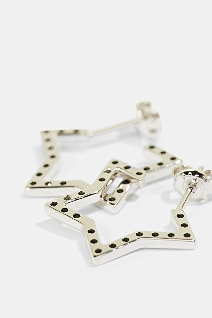 Star earrings with zirconia, sterling silver