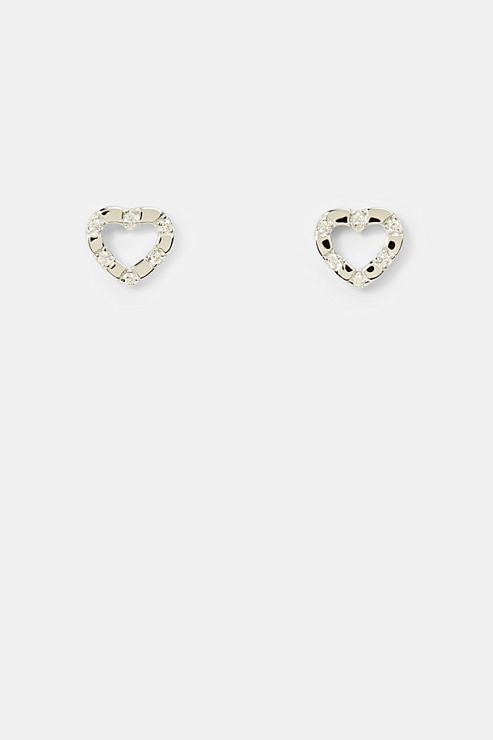 Heart-shaped stud earrings in sterling silver, SILVER, detail image number 0