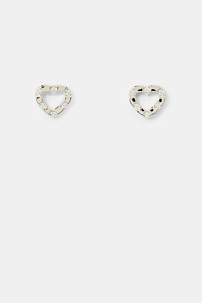 Herzförmige Ohrstecker aus Sterling Silber, SILVER, detail image number 0