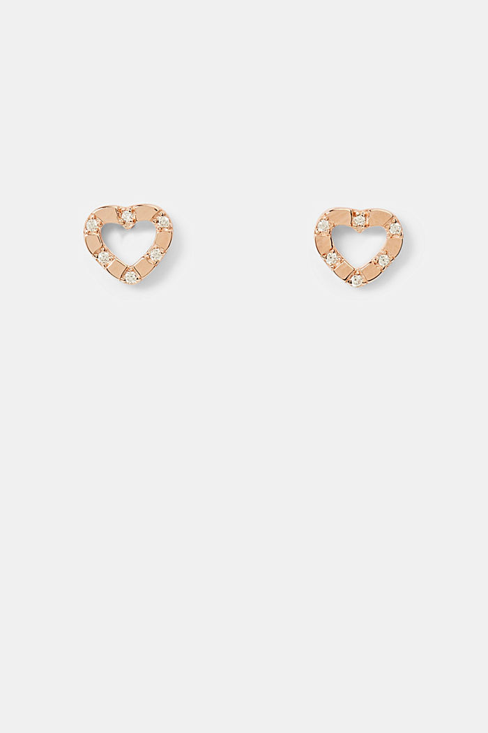 Stainless steel stud earrings with zirconia trim, ROSEGOLD, detail image number 0