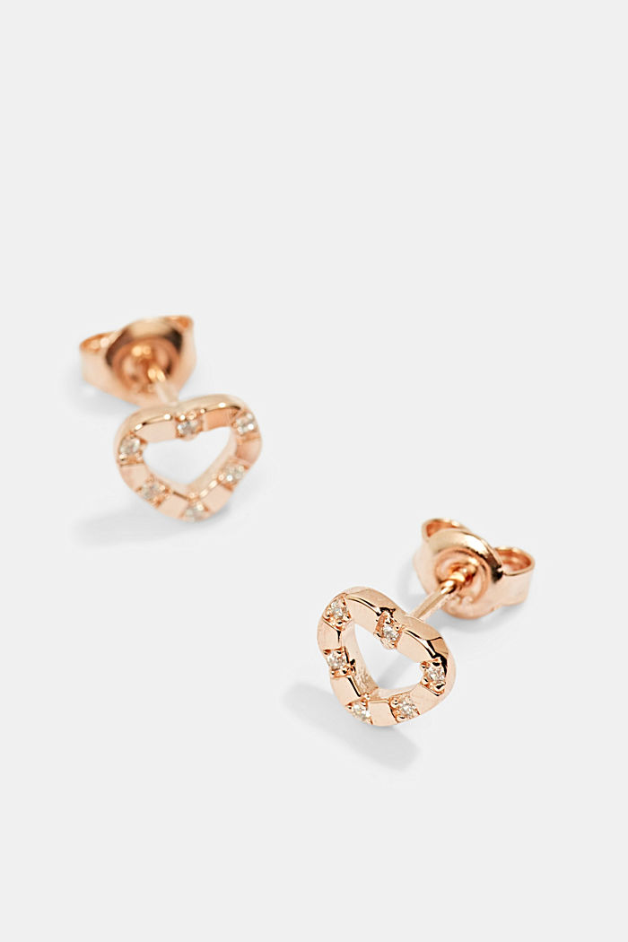 Stainless steel stud earrings with zirconia trim