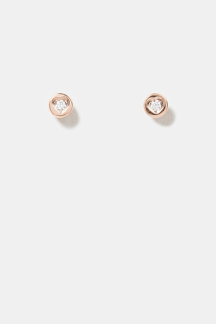 Stud earrings with zirconia, sterling silver, ROSEGOLD, detail image number 0