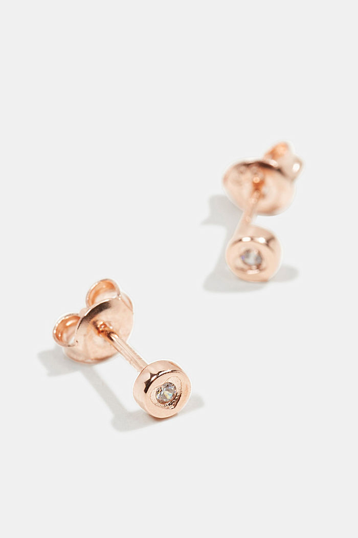 Stud earrings with zirconia, sterling silver, ROSEGOLD, overview