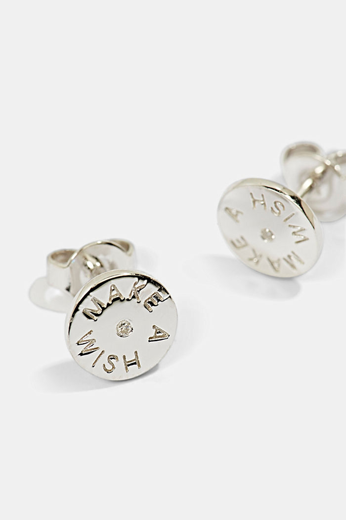 With diamonds: sterling silver stud earrings, SILVER, detail image number 1