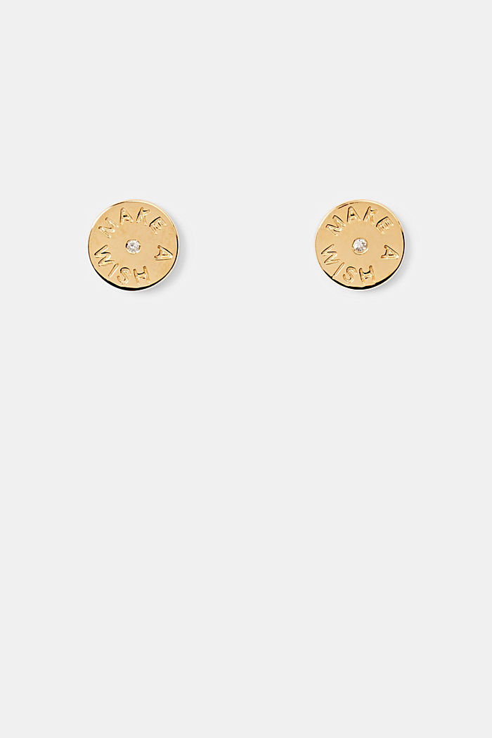 With a diamond: Sterling silver stud earrings, GOLD, detail image number 0