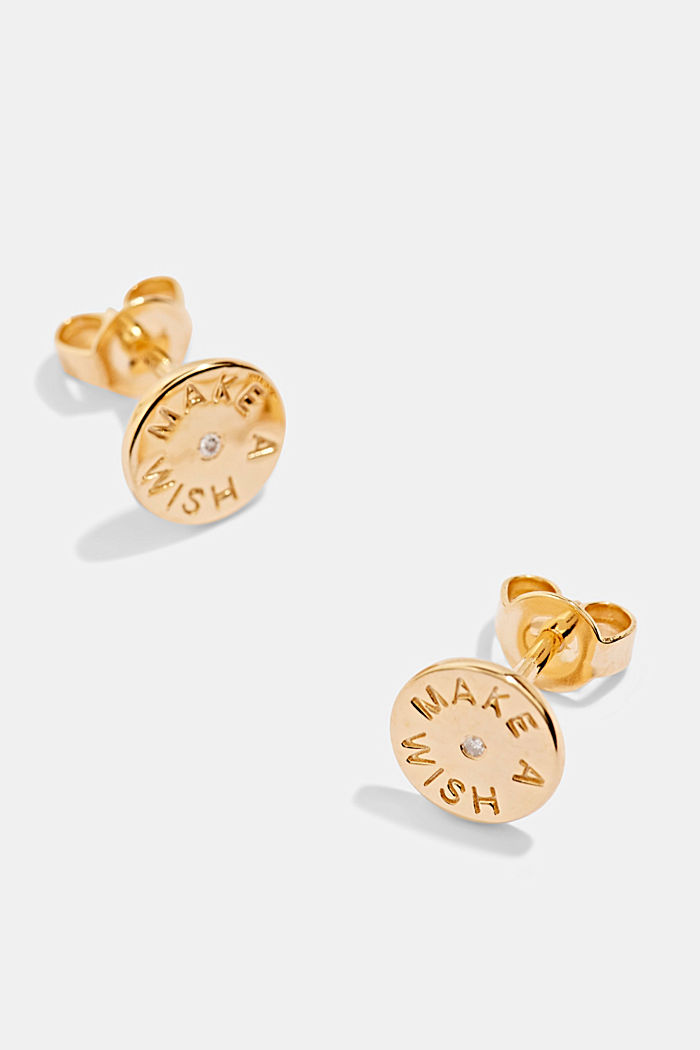 With a diamond: Sterling silver stud earrings, GOLD, detail image number 1
