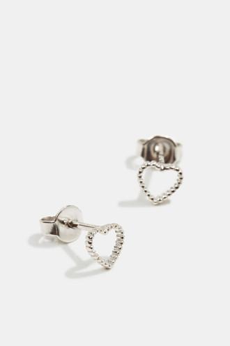 Heart-shaped stud earrings in sterling silver