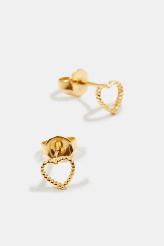 Delicate heart-shaped stud earrings, sterling silver