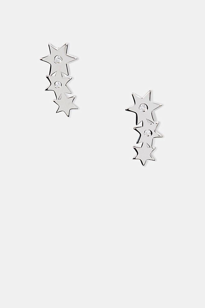 Oorstekers met zirkonia, sterlingzilver, SILVER, detail image number 0