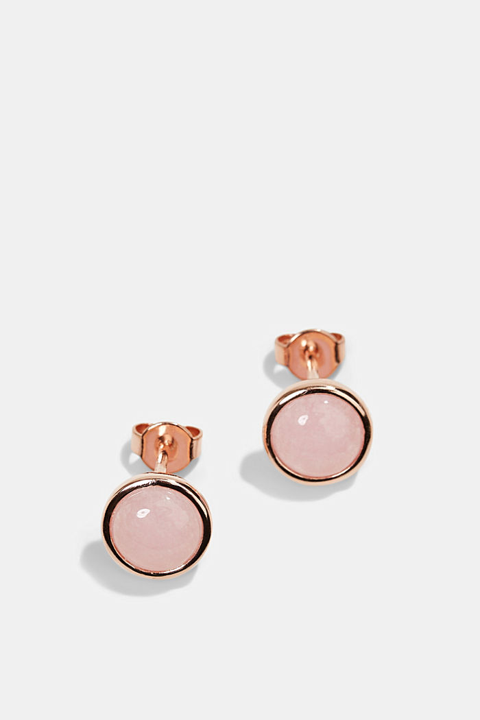 Sterling silver stud earrings with an artificial gemstone, ROSEGOLD, detail image number 0