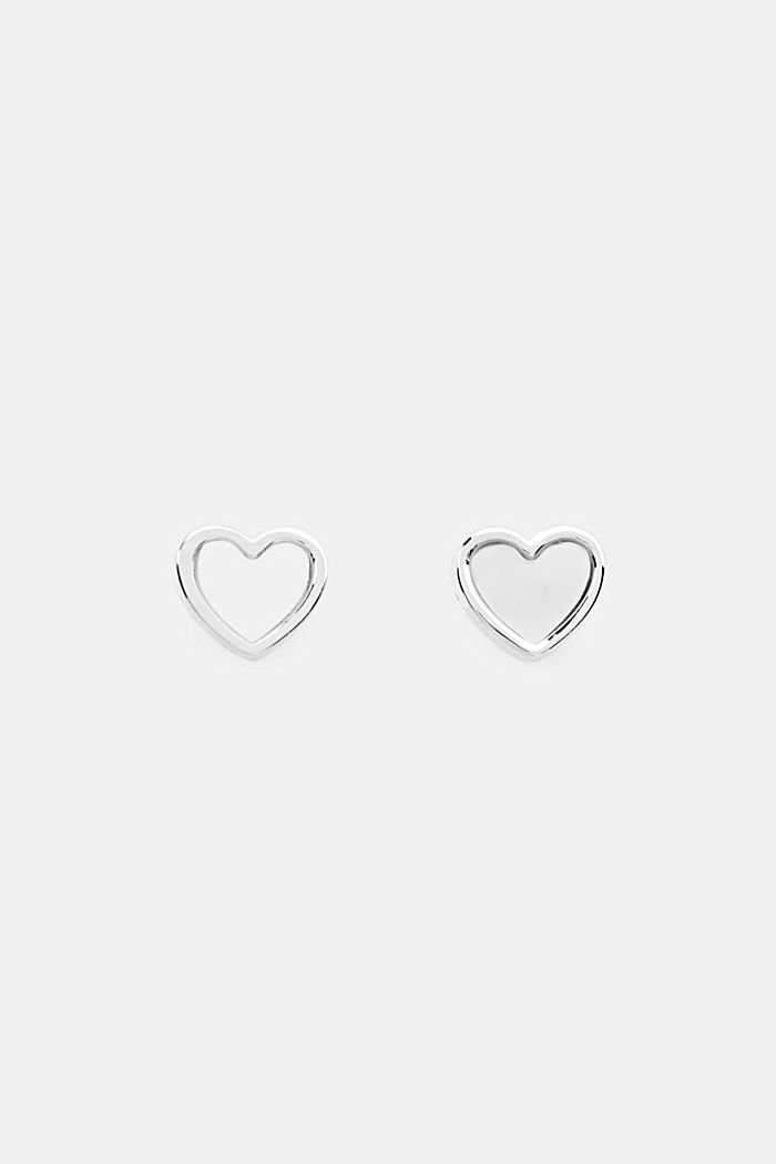 Heart stud earrings with mother-of-pearl, sterling silver, SILVER, detail image number 0