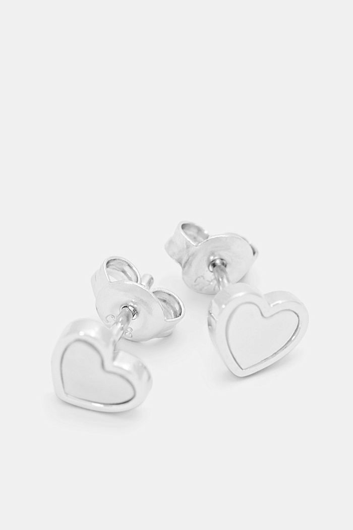 Heart stud earrings with mother-of-pearl, sterling silver, SILVER, detail image number 1