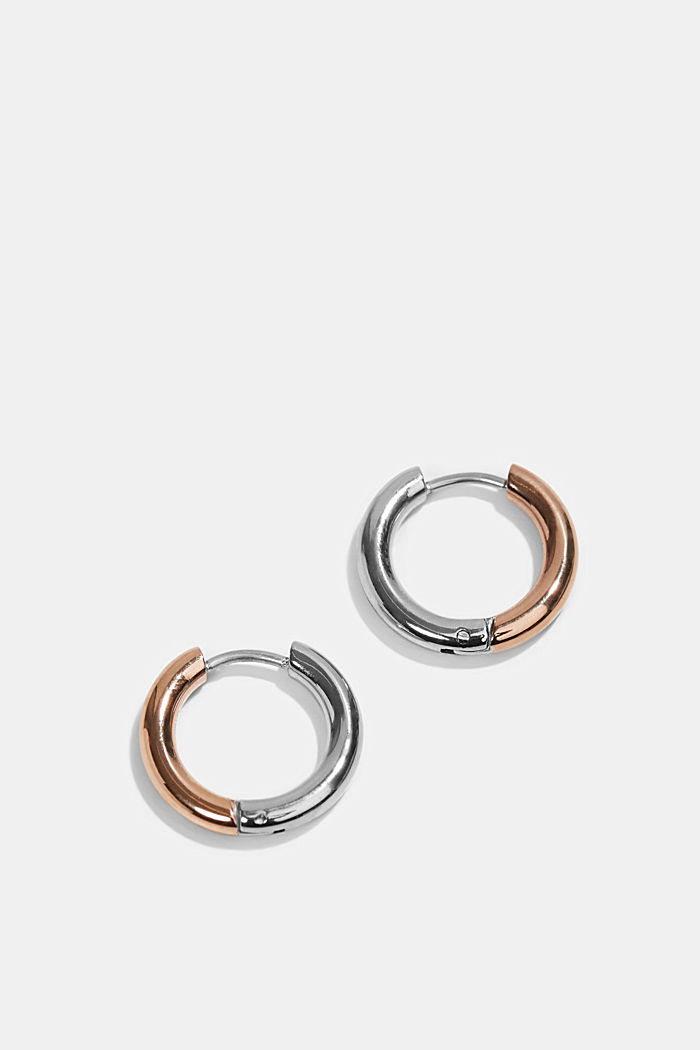 Two-tone Creoles made of stainless steel, ROSEGOLD, detail image number 0