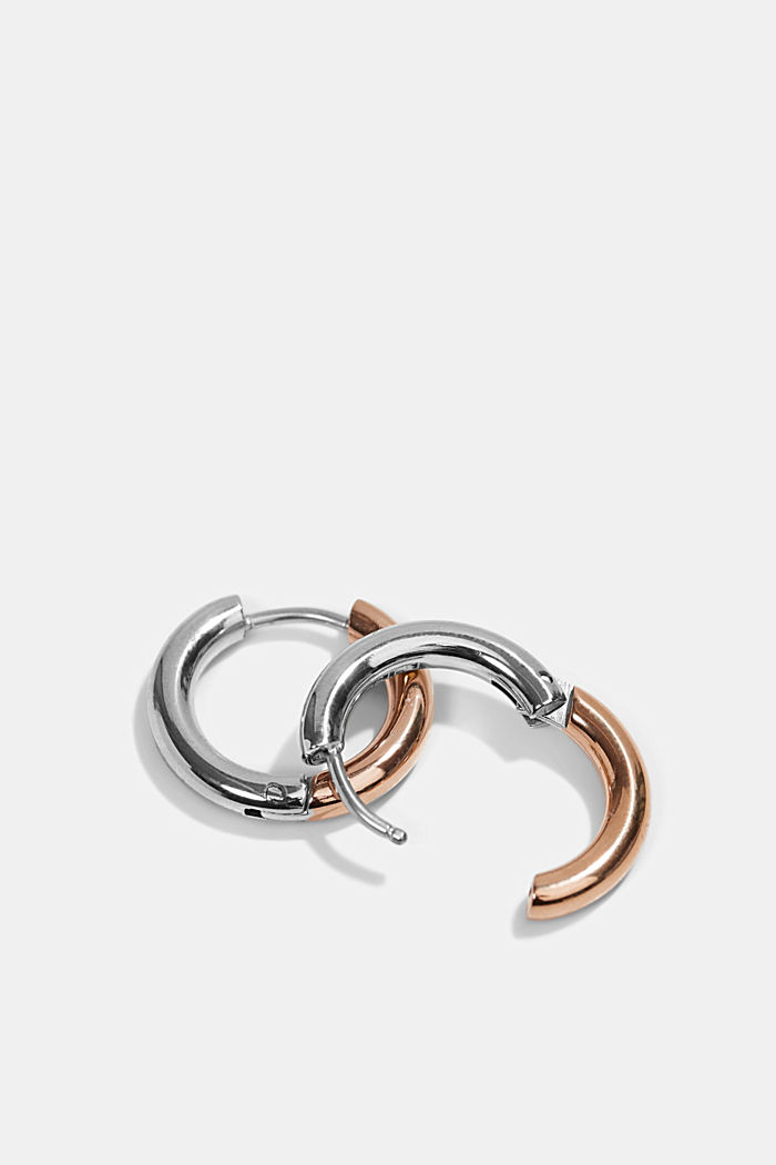 Two-tone Creoles made of stainless steel, ROSEGOLD, detail image number 1