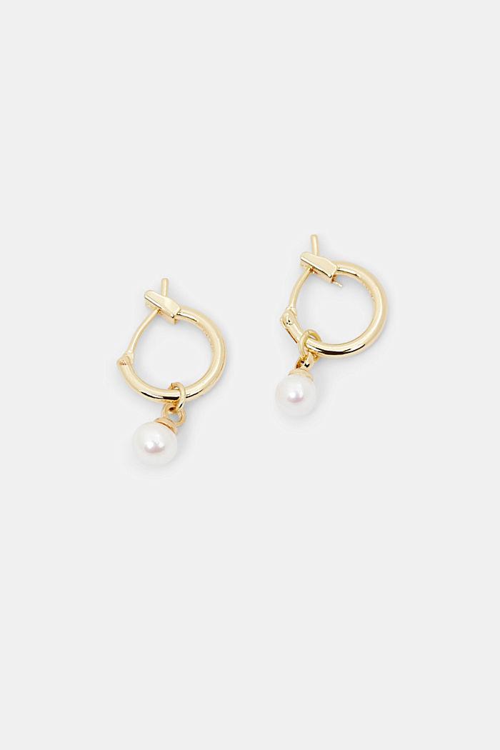Mini hoop earrings with bead pendants, GOLD, detail image number 0
