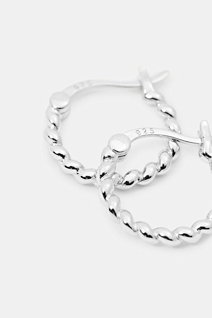 Small sterling silver hoop earrings, SILVER, detail image number 1