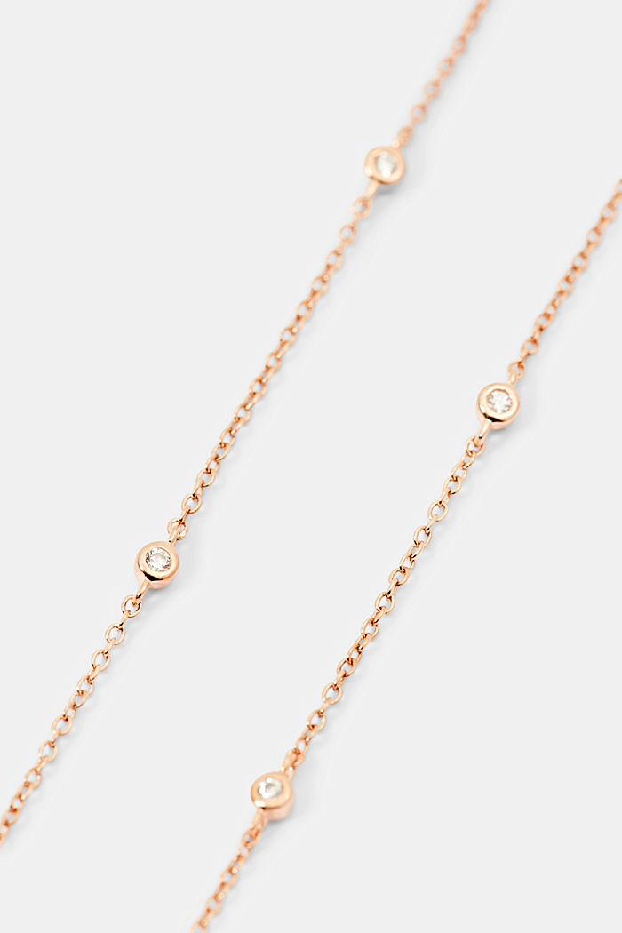 Orecchini in argento sterling con zircone, ROSEGOLD, detail image number 1