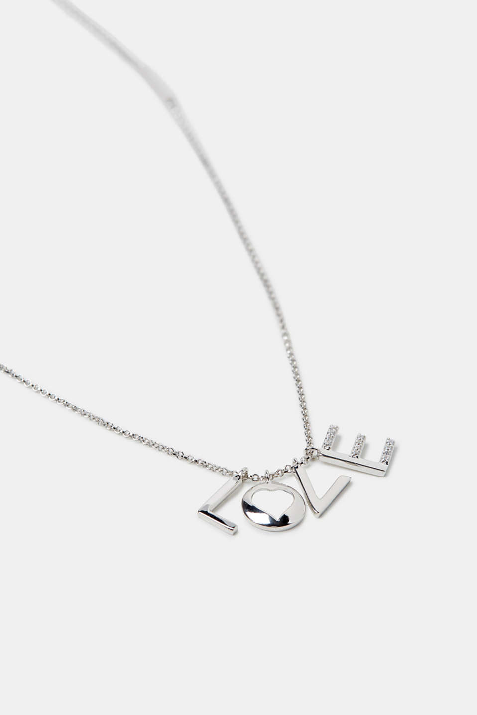 Necklace with a LOVE pendant, silver