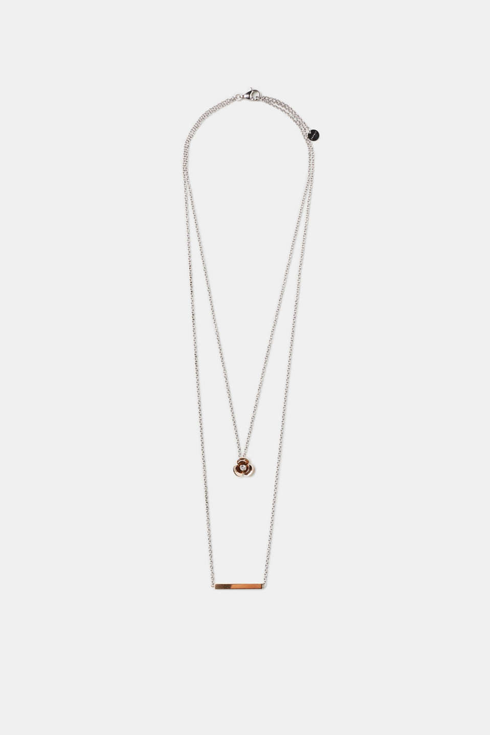 Esprit - Double-strand necklace with floral pendant