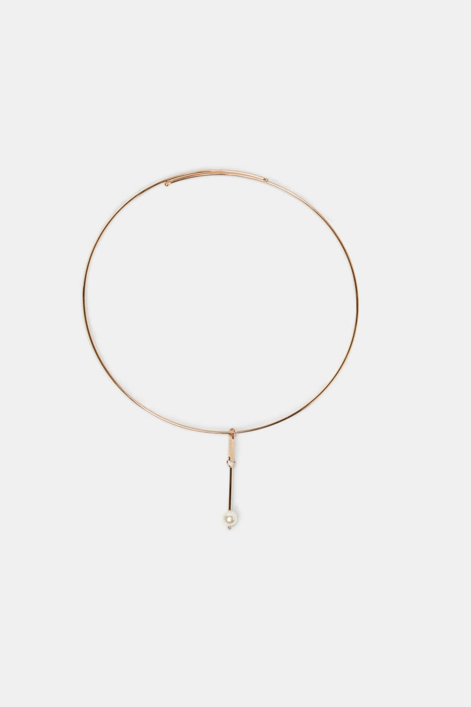 Trend: chokers! This design, in a rose gold finish, features bead pendants.