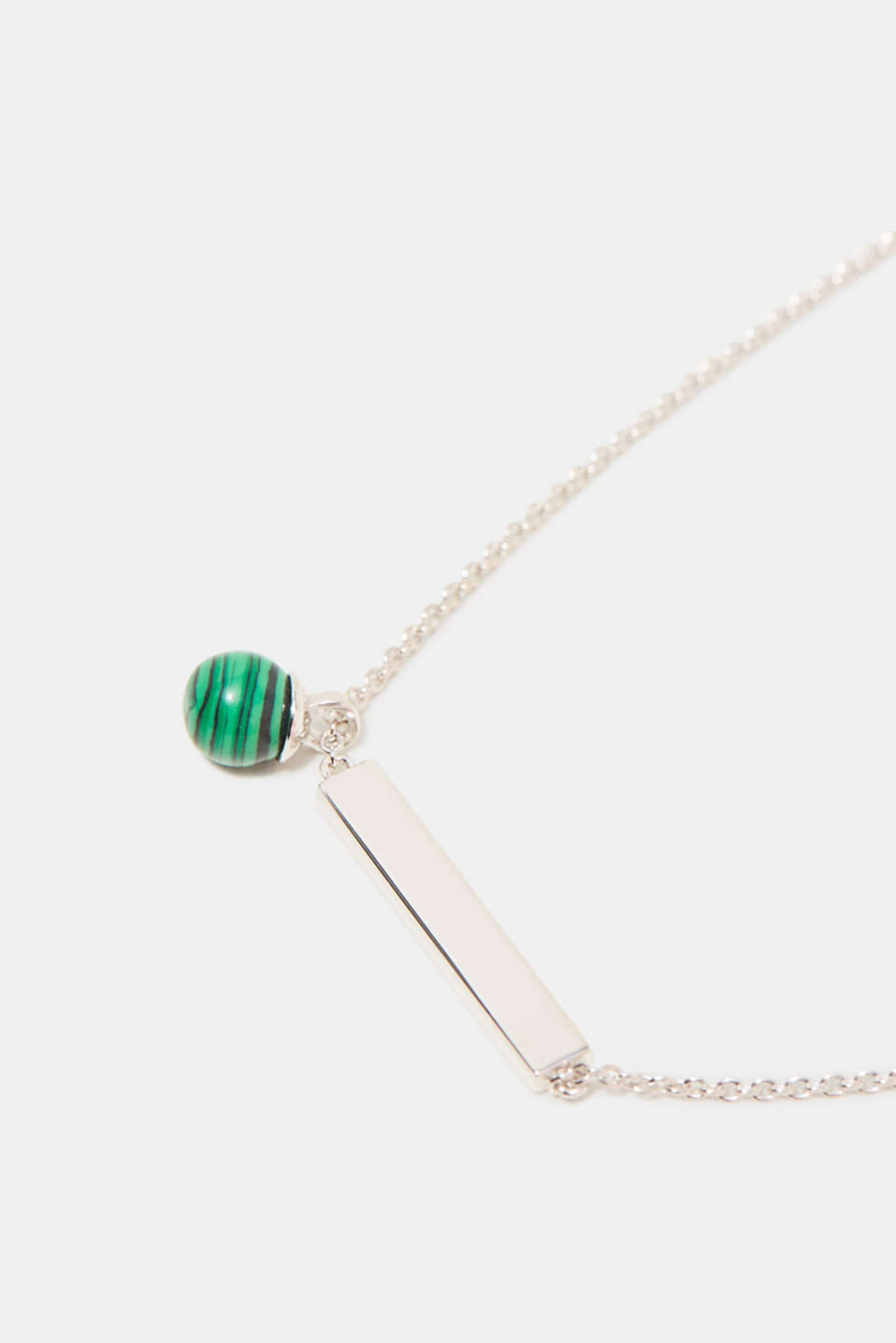 Sterling silver necklace with a green bead