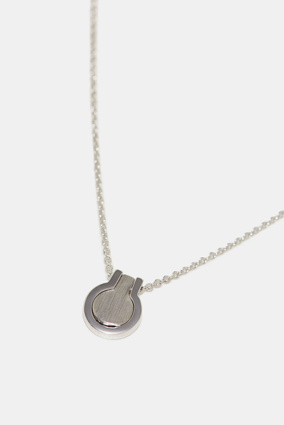 Necklace with two-piece pendant, sterling silver, one colour, detail image number 1