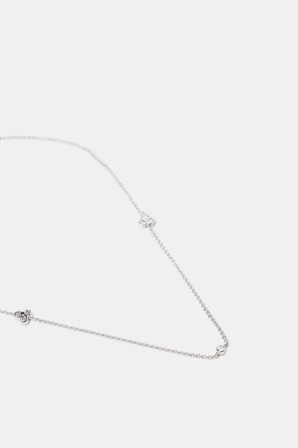 Necklace with set zirconia stones, sterling silver