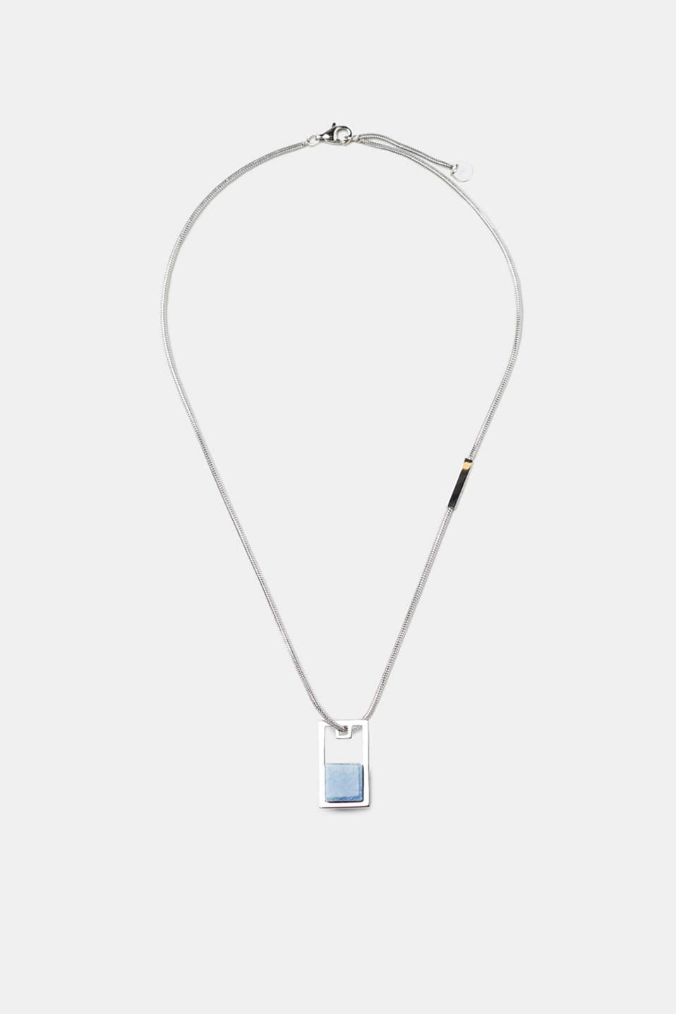 Stainless steel necklace with delicate blue artificial gemstone, one colour, detail image number 0
