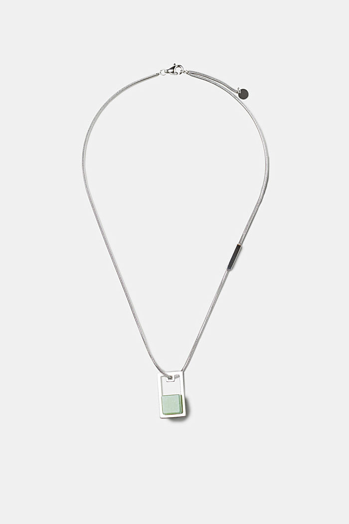 Stainless steel necklace with artificial jade pendant, SILVER, detail image number 0