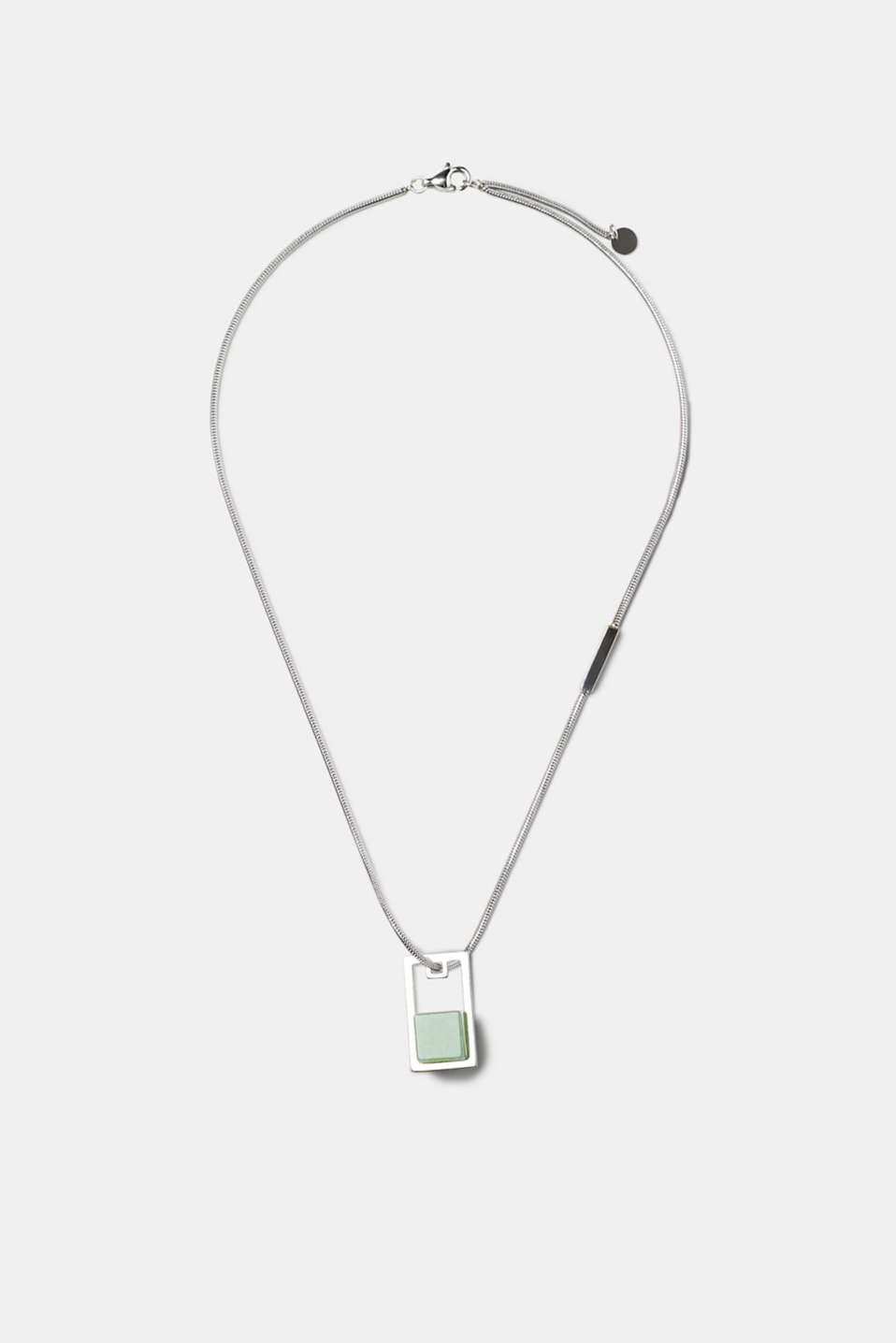 Esprit - Stainless steel necklace with artificial jade pendant