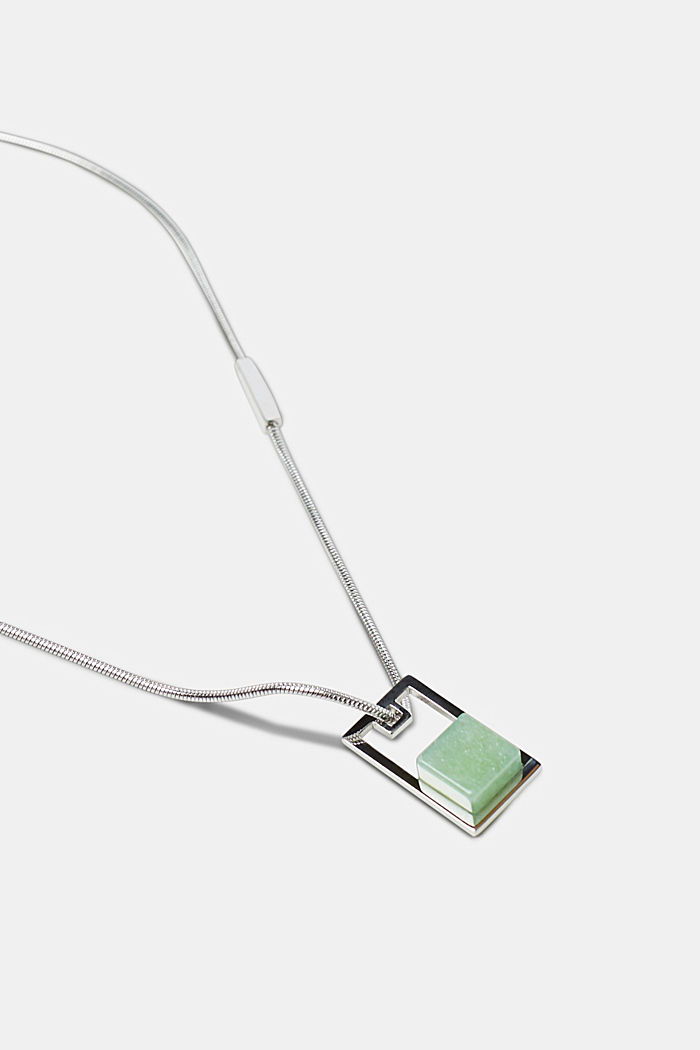 Stainless steel necklace with artificial jade pendant, SILVER, detail image number 1