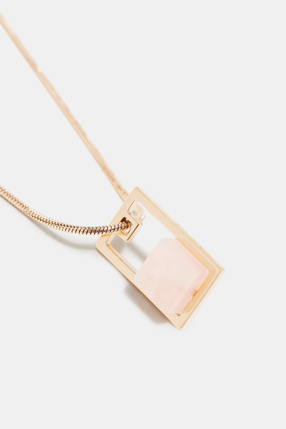 Stainless steel necklace with a gemstone pendant in a marble look, ROSEGOLD, detail image number 1
