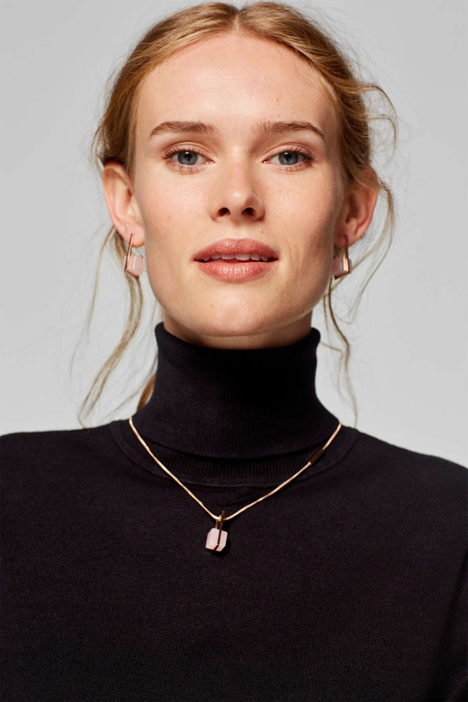 Stainless steel necklace with a gemstone pendant in a marble look, ROSEGOLD, detail image number 2
