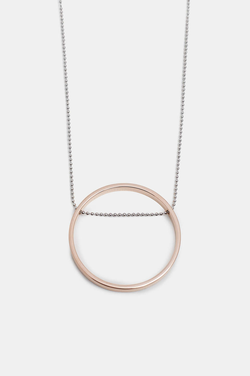 Long necklace with a ring pendant, ROSEGOLD, detail image number 0